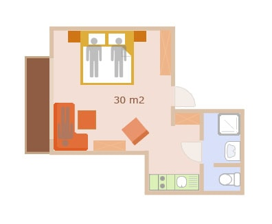 Floor Plan of the 2 person apartment with add. bed