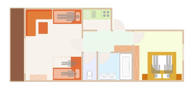 Floor Plan of the 3 person sup. apartment with add. bed  in Lech