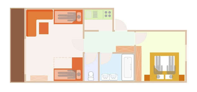 Floor Plan of the 4 person sup. apartment in Lech