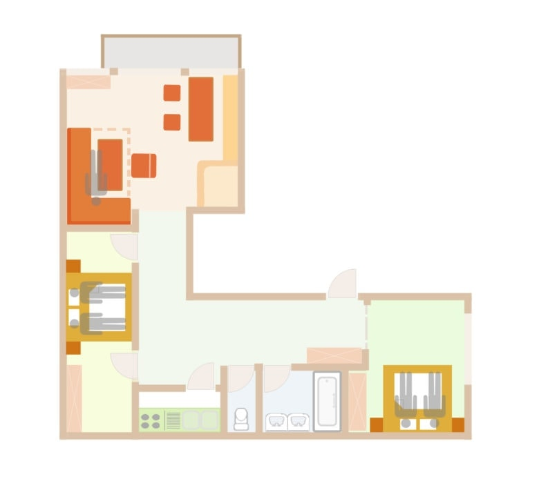 Floor Plan of the 5 person apartment