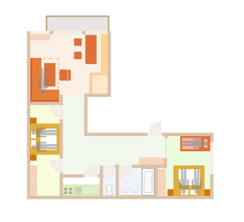Floor Plan of the 5 person apartment with add. bed  in Lech