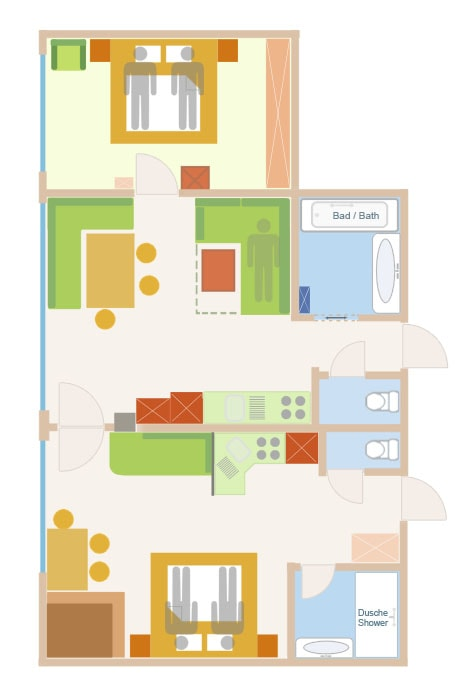 Floor Plan of the 5 person sup. PLUS apartment in Lech