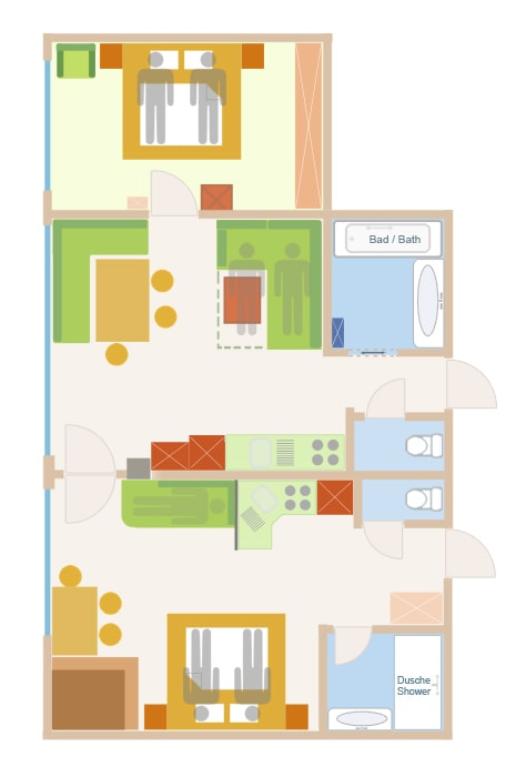 Floor Plan of the 5 person sup. PLUS  apartment with add. bed  in Lech