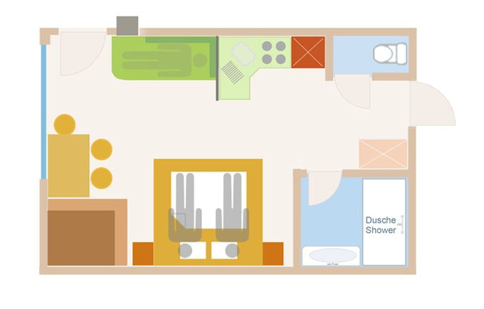 Floor Plan of the 2 person sup. PLUS apartment with add. bed