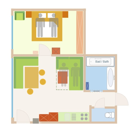 Floor Plan of the 3 person sup. apartment with add. bed